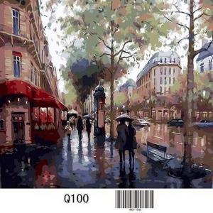 Фото Картины на холсте по номерам, Городской пейзаж Картина по номерам в коробке Mariposa  Дождливый день Q100 40х50см