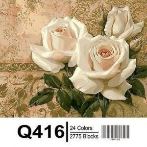 Фото Картины на холсте по номерам, Букеты, Цветы, Натюрморты Картина по номерам в коробке Mariposa Кремовые розы 40х50см (Q416)