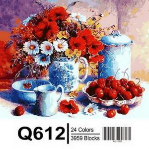 Фото Картины на холсте по номерам, Букеты, Цветы, Натюрморты Картина по номерам в коробке Mariposa Черешни и маки 40х50см (Q612)