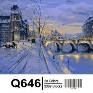 Фото Картины на холсте по номерам, Городской пейзаж Картина по номерам в коробке Mariposa Париж зимой   40х50см  (Q646)