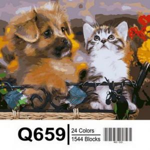 Фото Картины на холсте по номерам, Животные. Птицы. Рыбы... Картина по номерам в коробке  Mariposa Забавные малыши 40х50см (Q659)