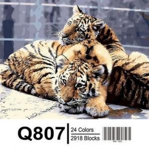 Фото Картины на холсте по номерам, Животные. Птицы. Рыбы... Картина по номерам в коробке  Mariposa Задумчивые тигрята 40х50см (Q807)