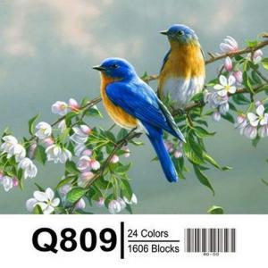Фото Картины на холсте по номерам, Животные. Птицы. Рыбы... Картина по номерам в коробке  Mariposa Птички на яблоне 40х50см (Q809)