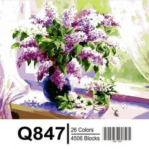 Фото Картины на холсте по номерам, Букеты, Цветы, Натюрморты Картина по номерам в коробке Mariposa Сирень на окне 40х50см (Q847)