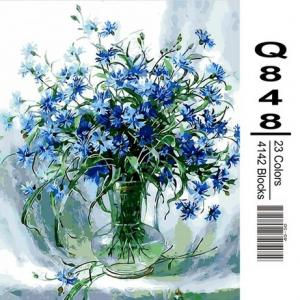 Фото Картины на холсте по номерам, Букеты, Цветы, Натюрморты Картина по номерам в коробке Mariposa Васильки в стеклянной вазе 40х50см (Q848)
