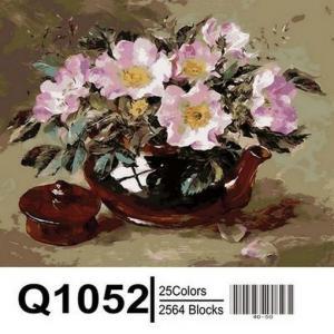Фото Картины на холсте по номерам, Букеты, Цветы, Натюрморты Картина по номерам в коробке Mariposa Шиповник в глиняном чайнике 40х50см (Q1052)
