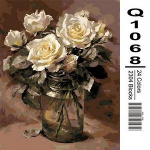 Фото Картины на холсте по номерам, Букеты, Цветы, Натюрморты Картина по номерам в коробке Mariposa Белые розы в банке 40х50см (Q1068)