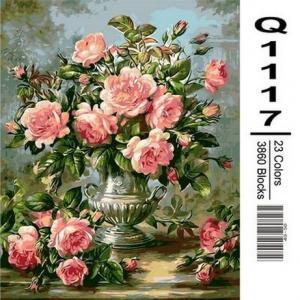 Фото Картины на холсте по номерам, Букеты, Цветы, Натюрморты Картина по номерам в коробке Mariposa Розы в серебрянной вазе 40х50см (Q1117)