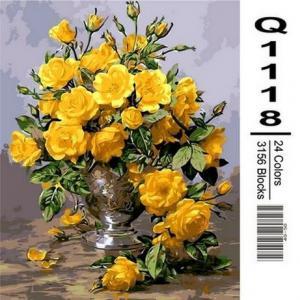 Фото Картины на холсте по номерам, Букеты, Цветы, Натюрморты Картина по номерам в коробке Mariposa Жёлтые розы в серебрянной вазе 40х50см (Q1118)