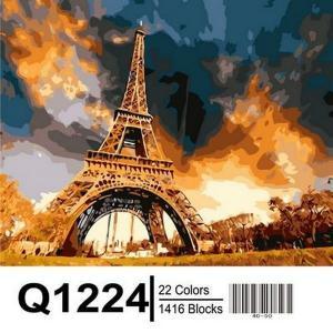 Фото Картины на холсте по номерам, Городской пейзаж Картина по номерам в коробке Mariposa  Закат над Парижем 40х50см (Q1224)