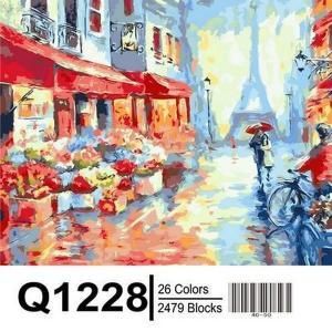 Фото Картины на холсте по номерам, Городской пейзаж Картина по номерам в коробке Mariposa Весенний дождь в Париже 40х50см (Q1228)