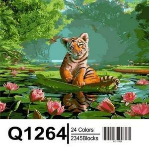 Фото Картины на холсте по номерам, Животные. Птицы. Рыбы... Картина по номерам в коробке  Mariposa Тигрёнок и лотосы 40х50см (Q1264)