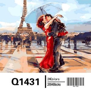 Фото Картины на холсте по номерам, Романтические картины. Люди Картина по номерам в коробке Mariposa Париж - город влюблённых 40х50см (Q1431)