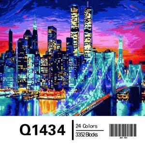 Фото Картины на холсте по номерам, Городской пейзаж Картина по номерам в коробке Mariposa Бруклинский мост в огнях 40х50см (Q1434)