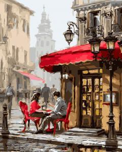 Фото Картины на холсте по номерам, Городской пейзаж Картина по номерам без коробки Paintboy Лондонское кафе 40х50см (GX 8089)