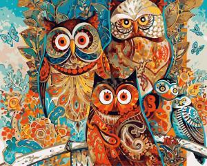 Фото Картины на холсте по номерам, Животные. Птицы. Рыбы... Картина по номерам в коробке  Paintboy Совушки 40х50см (KGX 8849)