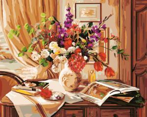 Фото Картины на холсте по номерам, Картины  в пакете (без коробки) 50х40см; 40х40см; 40х30см, Цветы, букеты, натюрморты Картина по номерам без коробки Paintboy Букет на комоде 40х50см (GX 8970)