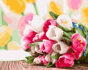 Фото Картины на холсте по номерам, Букеты, Цветы, Натюрморты Картина по номерам в коробке Paintboy Букет тюльпанов 40х50см (KGX 9193)
