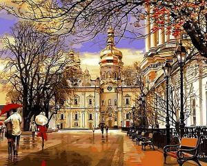 Фото Картины на холсте по номерам, Моя Україна Картина  по номерам в коробке Babylon Дождь. Весна. Лавра 40х50см  (VP 500)