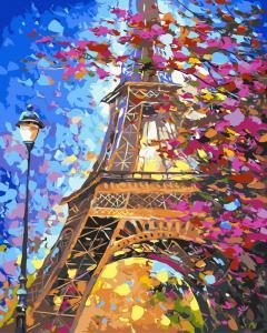 Фото Картины на холсте по номерам, Городской пейзаж Картина по номерам без коробки Paintboy Париж весной 40х50см (GX9886)