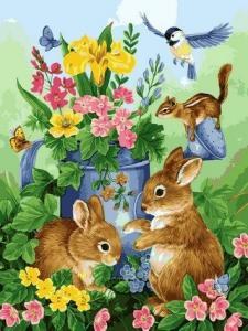 Фото Картины на холсте по номерам, Животные. Птицы. Рыбы... Картина по номерам в коробке Babylon Волшебный сад 40х50см (VP 626)