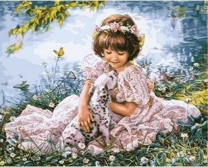 Фото Картины на холсте по номерам, Дети на картине Картина по номерам в коробке Babylon Девочка с далматинцем 40х50см (VP 631)
