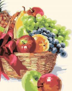 Фото Картины на холсте по номерам, Картины  в пакете (без коробки) 50х40см; 40х40см; 40х30см, Цветы, букеты, натюрморты Картина по номерам без коробки Идейка Корзина фруктов 40х50см (KHO 2910)