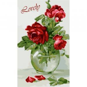 Фото Картины на холсте по номерам, Картины  в пакете (без коробки) 50х40см; 40х40см; 40х30см, Цветы, букеты, натюрморты Картина по номерам без коробки Идейка Чувственные розы 30х50см (KHO 2091)