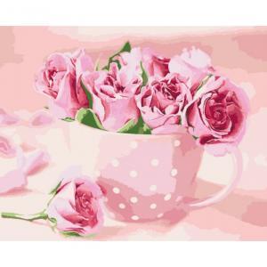 Фото Картины на холсте по номерам, Картины  в пакете (без коробки) 50х40см; 40х40см; 40х30см, Цветы, букеты, натюрморты Картина по номерам без коробки Идейка Чайные розы 40х50см (KHO 2923)