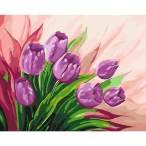 Фото Картины на холсте по номерам, Картины  в пакете (без коробки) 50х40см; 40х40см; 40х30см, Цветы, букеты, натюрморты Картина по номерам без коробки Идейка Персидские тюльпаны40х50см (KHO 2924)
