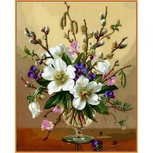 Фото  NBR 1059 Белоснежные цветы (цветной холст в раме) Babylon Premium 40x50см