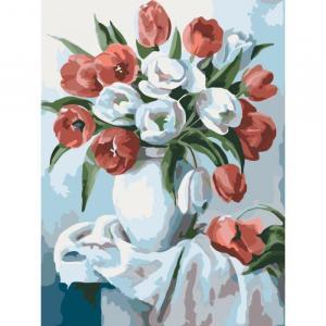 Фото Картины на холсте по номерам, Картины  в пакете (без коробки) 50х40см; 40х40см; 40х30см, Цветы, букеты, натюрморты Картина по номерам без коробки Идейка Букет ярких тюльпанов 40х30см (KHO 2046)