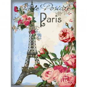 Фото Картины на холсте по номерам, Картины  в пакете (без коробки) 50х40см; 40х40см; 40х30см, Цветы, букеты, натюрморты Картина по номерам без коробки Идейка Привет из Парижа 40х30см (KHO 2063)