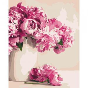 Фото Картины на холсте по номерам, Картины  в пакете (без коробки) 50х40см; 40х40см; 40х30см, Цветы, букеты, натюрморты Картина по номерам без коробки Идейка Бархатные пионы 40х50см (KHO 2931)