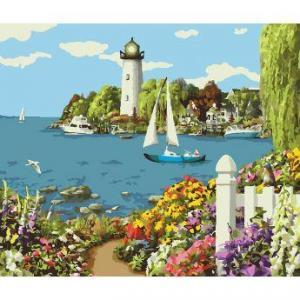 Фото Картины на холсте по номерам, Морской пейзаж Картина по номерам в коробке Идейка Райский уголок 40х50см (KH 2226)
