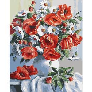 Фото Картины на холсте по номерам, Картины  в пакете (без коробки) 50х40см; 40х40см; 40х30см, Цветы, букеты, натюрморты Картина по номерам без коробки Paintboy Маки и ромашки 40х50см (GX 3812)