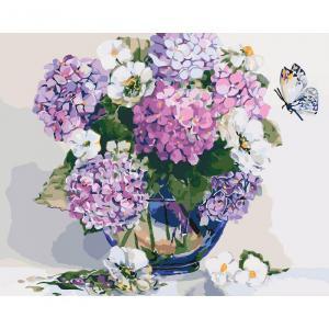 Фото Картины на холсте по номерам, Картины  в пакете (без коробки) 50х40см; 40х40см; 40х30см, Цветы, букеты, натюрморты Картина по номерам без коробки Идейка Шикарная гортензия 40х50см (KHO 2083)