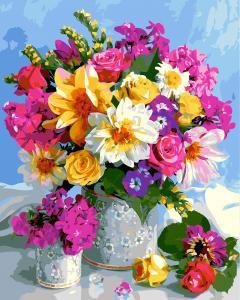 Фото Картины на холсте по номерам, Картины  в пакете (без коробки) 50х40см; 40х40см; 40х30см, Цветы, букеты, натюрморты Картина по номерам без коробки Paintboy Сказочный букет 40х50см (GX 5546)
