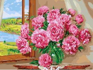 Фото Картины на холсте по номерам, Картины  в пакете (без коробки) 50х40см; 40х40см; 40х30см, Цветы, букеты, натюрморты Картина по номерам без коробки Paintboy Пионы на окне 40х50см (GX 9904)