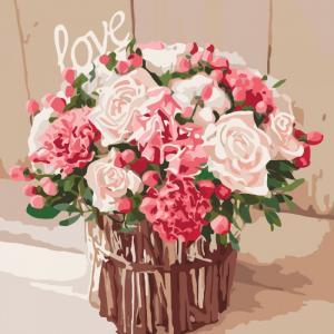 Фото Картины на холсте по номерам, Картины  в пакете (без коробки) 50х40см; 40х40см; 40х30см, Цветы, букеты, натюрморты Картина по номерам без коробки Идейка Розы любви 40х40см (KHO 2074)