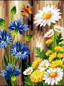 Фото Картины на холсте по номерам, Букеты, Цветы, Натюрморты Картина по номерам в коробке Babylon Васильки и ромашки 40x30см (VK 083)