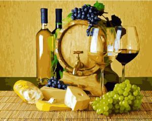 Фото Картины на холсте по номерам, Картины  в пакете (без коробки) 50х40см; 40х40см; 40х30см, Цветы, букеты, натюрморты Картина по номерам без коробки Paintboy Сыр и вино 40х50см (GX 22603)