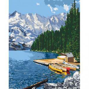 Фото Картины на холсте по номерам, Картины  в пакете (без коробки) 50х40см; 40х40см; 40х30см, Пейзаж, морской пейзаж. Картина по номерам без коробки Идейка Горное озеро 50х40см (KHO 2223)