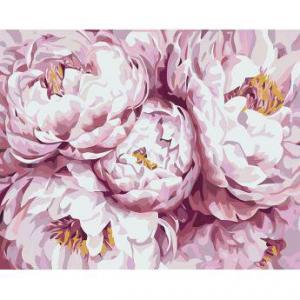 Фото Картины на холсте по номерам, Картины  в пакете (без коробки) 50х40см; 40х40см; 40х30см, Цветы, букеты, натюрморты Картина по номерам без коробки Идейка Королевские пионы 40х50см (KHO 3013)