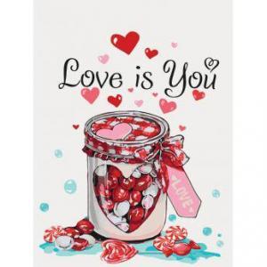 Фото Картины на холсте по номерам, Картины  в пакете (без коробки) 50х40см; 40х40см; 40х30см, Цветы, букеты, натюрморты Картина по номерам без коробки Идейка Love is you 40х30см (KHO 5526)