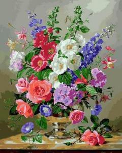 Фото Картины на холсте по номерам, Букеты, Цветы, Натюрморты Картина по номерам в коробке Babylon Дельфиниум и коралловые розы 40х50см (VP 1053)