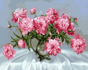Фото Картины на холсте по номерам, Картины  в пакете (без коробки) 50х40см; 40х40см; 40х30см, Цветы, букеты, натюрморты Картина по номерам без коробки Paintboy Розовые пионы 40х50см (GX 8881)