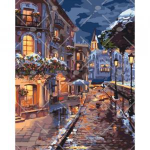 Фото Картины на холсте по номерам, Городской пейзаж Картина по номерам без коробки Идейка Зимний городок 40х50см (KHO 3542)