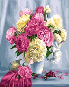 Фото Картины на холсте по номерам, Картины  в пакете (без коробки) 50х40см; 40х40см; 40х30см, Цветы, букеты, натюрморты Картина по номерам без коробки Paintboy Розовые пионы и вишни 40х50см (GX 26464)