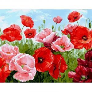 Фото Картины на холсте по номерам, Букеты, Цветы, Натюрморты Картина по номерам в коробке Babylon Алые маки 40х50см (VP1111)